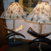 Nguni horn and wild goose feather shade..at the moment there are a matching pair available.
